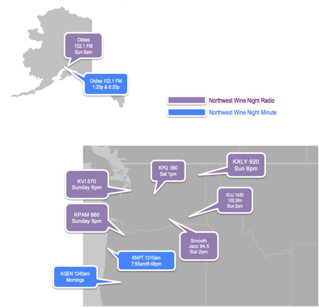 Northwest Wine Night Radio Station Map